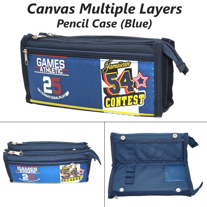 Canvas Multi Layers Pencil Case / Box SF1510 (Blue)