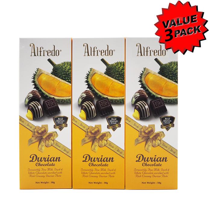 Alfredo Durian Chocolate 38g Value 3 Packs (3 x 38g)