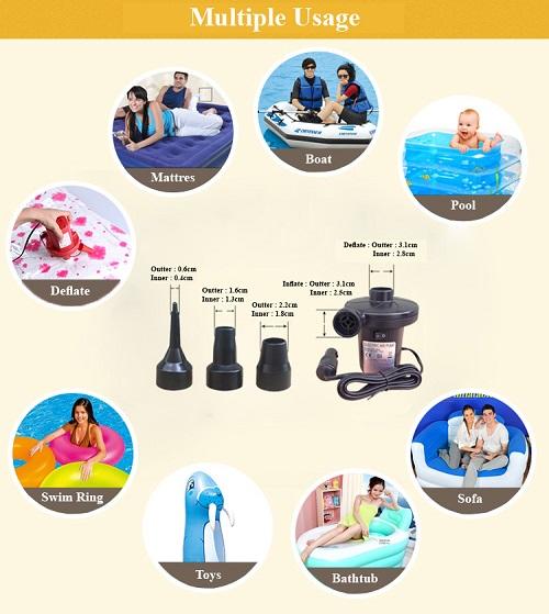 AC Electric Two Way Air Pump Inflate Deflate Bed Swimming Pool Bag Mattress Malaysia 2 Pin Plug