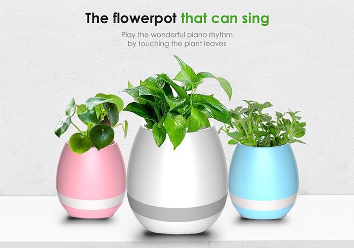 Smart Music Flower Pot Wireless Bluetooth Speaker LED Night Light