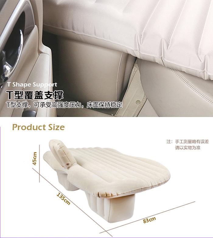 Car Back Seat Air Bed Thick Inflatable Mattress Travel Camping 2 Pillow+Air Pump