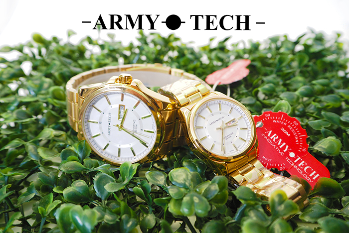 Army Tech ARSL-5040-MDDG-WR Men/ Women\'s Stainless Steel Couple Fashion Watch