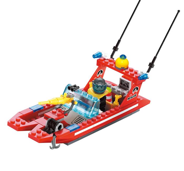 Enlighten 907 Fire Rescue Series Fire Boat Crane Building Block Toy
