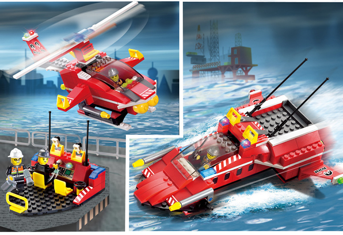 Enlighten 906 Fire Rescue Series Fire Boat Helicopter Building Block Toy