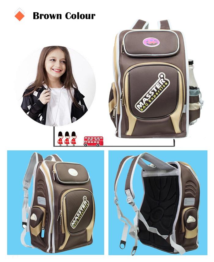 Masster 37642SCB 3D Protection Spinal Panel Kids Children School Heavy Duty Backpack Bag
