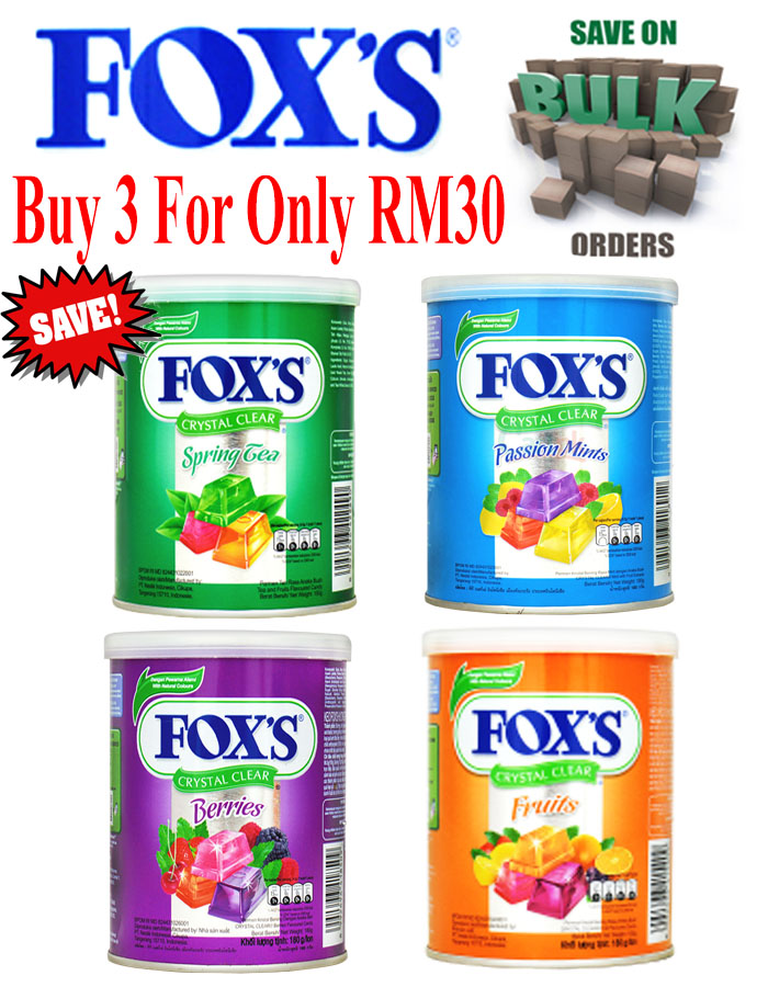 3 For Only RM30 Fox's Crystal Clear Candy : Bulk Sale