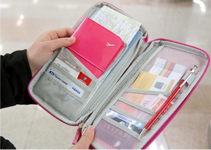 Travel Organizer Zip Over Wallet Passport Holder Purse