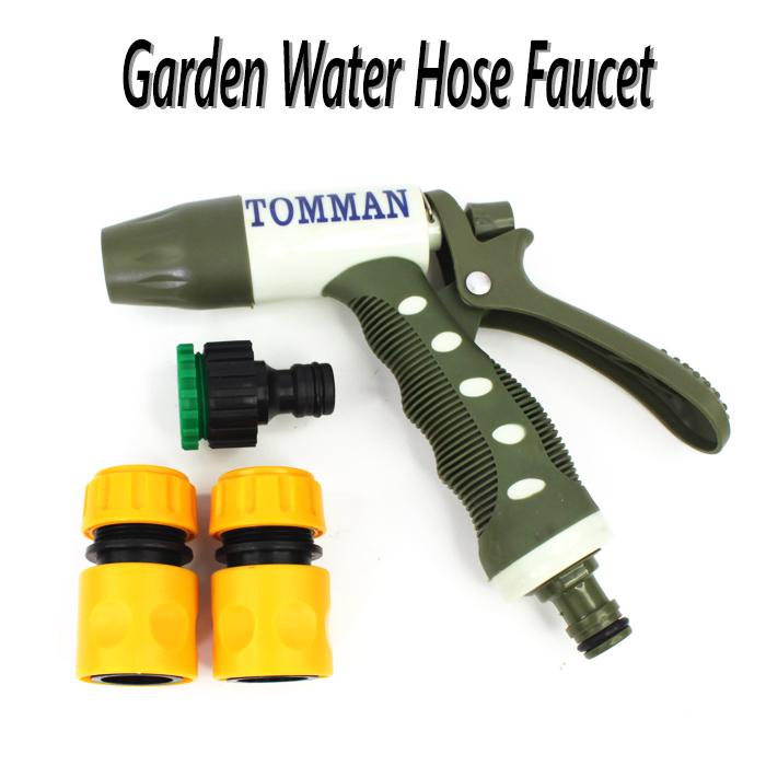 Garden Water Hose Faucet (Spray Nozzle + 1 Faucet Connector + 2 Fast Connectors)