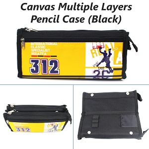 Canvas Multi Layers Pencil Case / Box SF1510 (Black)