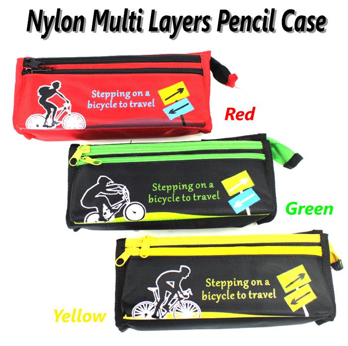 Nylon Multi Layers Pencil Case SF-1506 Green