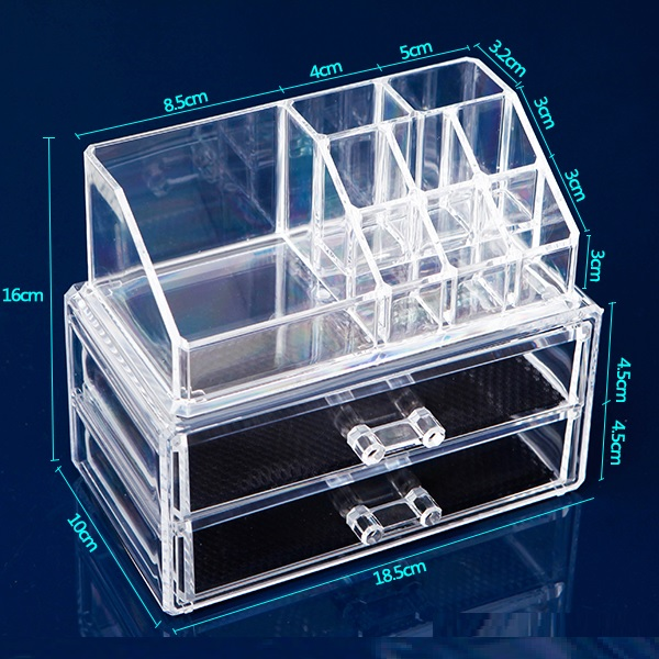 Acrylic Cosmetic Makeup 3 Drawer Case Small Jewelry Organizer Code 8801-2