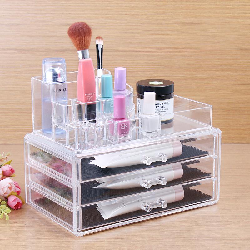 Acrylic Cosmetic 3 Drawer Semicircle Make Up Jewelry Storage Large