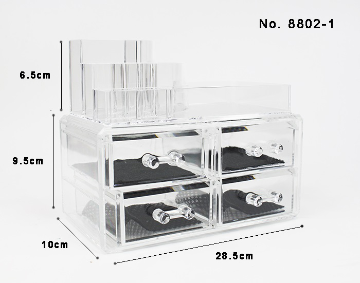 Acrylic Cosmetic Makeup 4 Drawer Small Case Jewelry Organizer Code 8802-1/ 8802-2