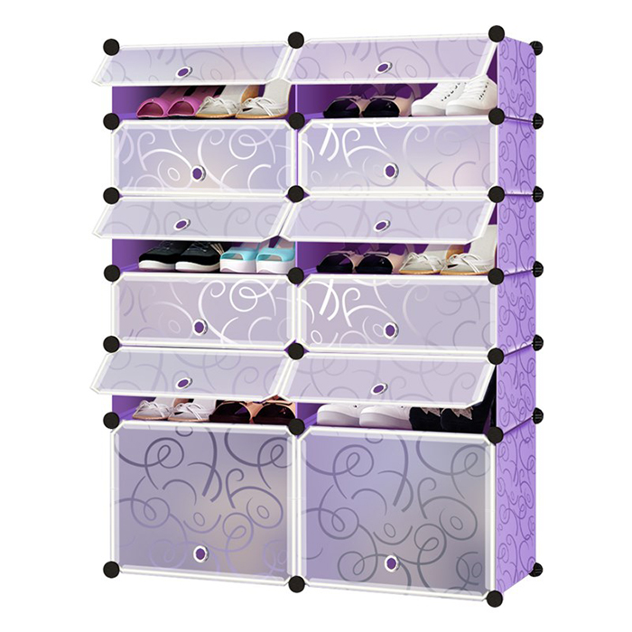 Multi-function Shoes Cabinet 6 Layers 12 Cubes Stackable Shoes Rack Wardrobe
