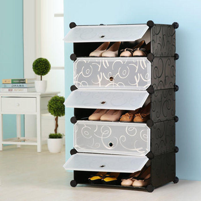 Multi-function Shoes Cabinet 5 Layers Stackable Shoes Rack Wardrobe