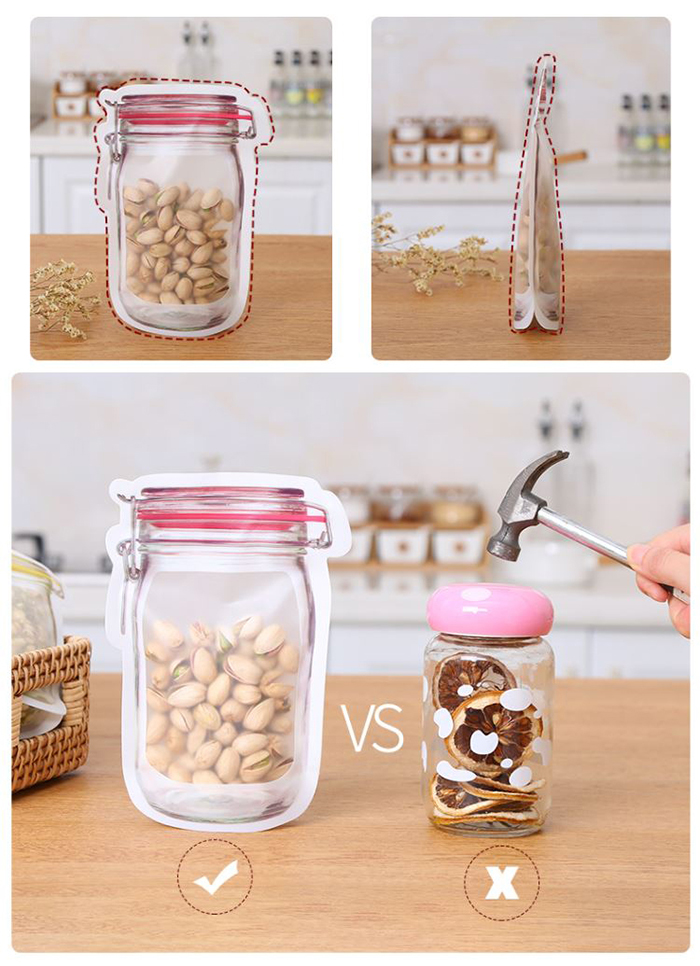 Resealable Zip Food Plastic Bag Food Tea Snack Kitchen Travel Storage Pouch Packaging