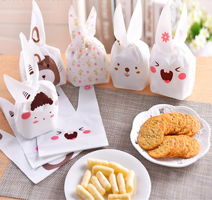 Cute Cartoon Long Ear Bakery Cookie Candy Bags Plastic Party Gift Bags Medium 10Pcs