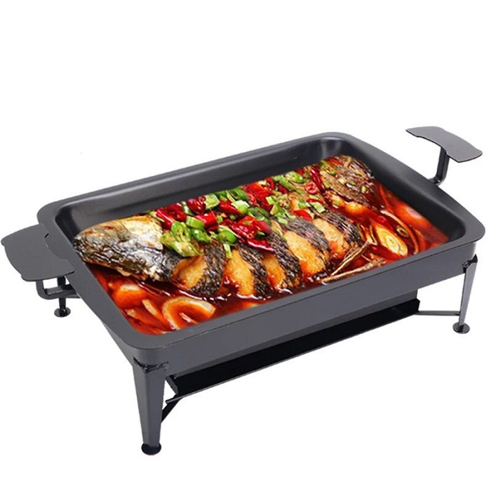 Double Layer Corbon Steel Fish Grill BBQ Drawer Stove Charcoal Outdoor Fishing Camping Picnic Pan
