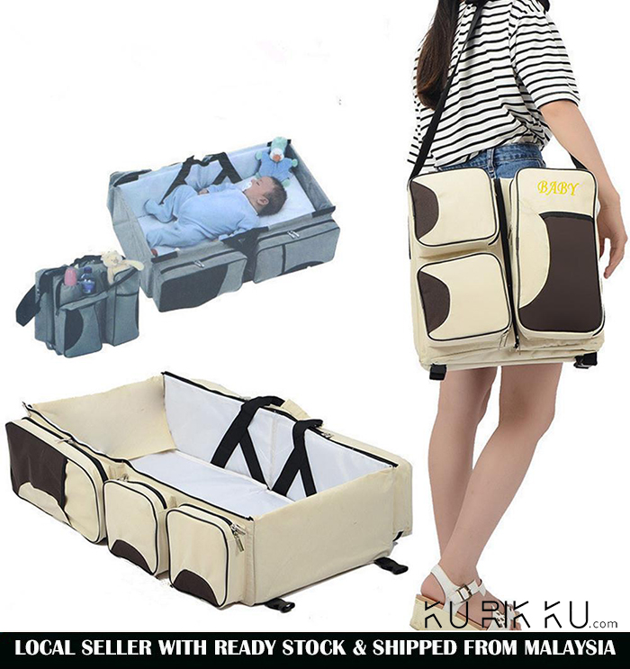 Kurikku Produk Terbaru Phillipe Joordan North Tas Backpack Wanita Hijau Canvas 3 In 1 Diaper Bags Portable Crib Changing Station Travel Bassinet Baby Bed