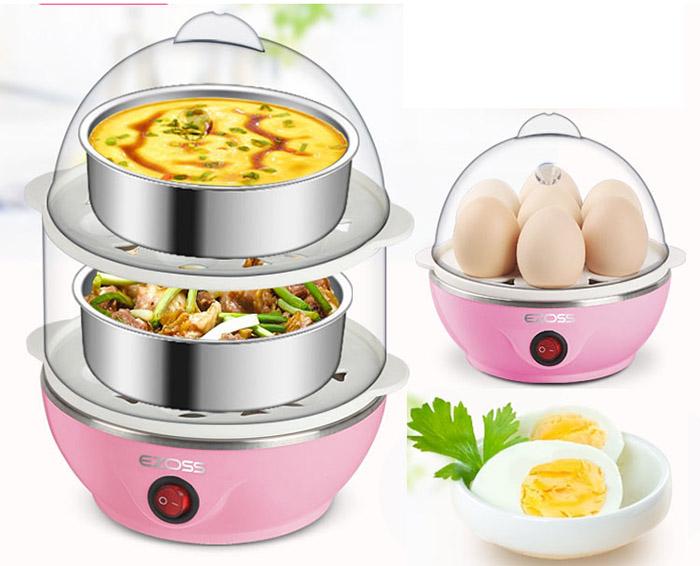 Double Layer Electric Egg Cooker Steamer Poacher Egg Boiler Cake Steamer + Free Gift