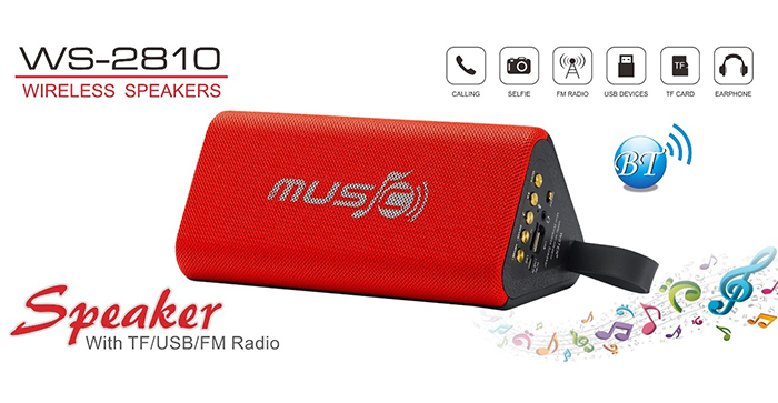 Wster WS-2810Wireless Portable Bluetooth Speakers with TF/ USB/ FM Radio