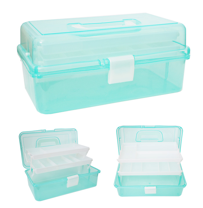Multifunction 3 Layer Transparent Plastic Box Portable Kit Tackle Jewelry Tool Storage Case Box Large