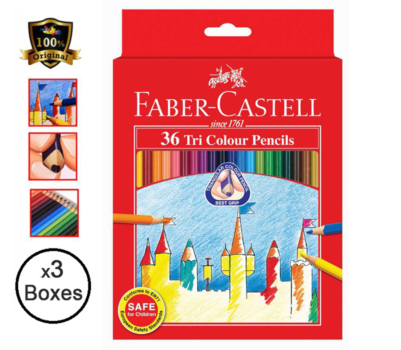Faber-Castell TRI-GRIP Colour Pencils 36'S 115875 (3 Boxes)