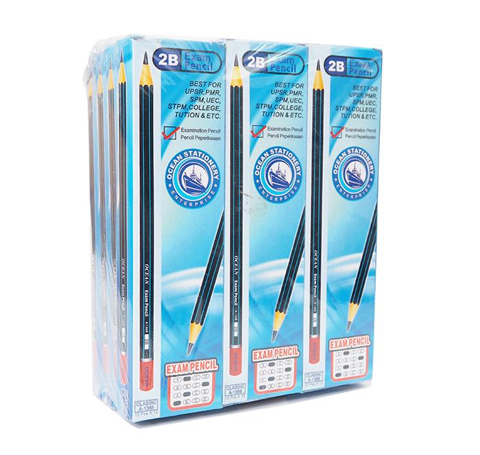 2B Exam Grade Pencil Micro Black Lead Pencils A-1368 12pcs (12 Box) BLUE