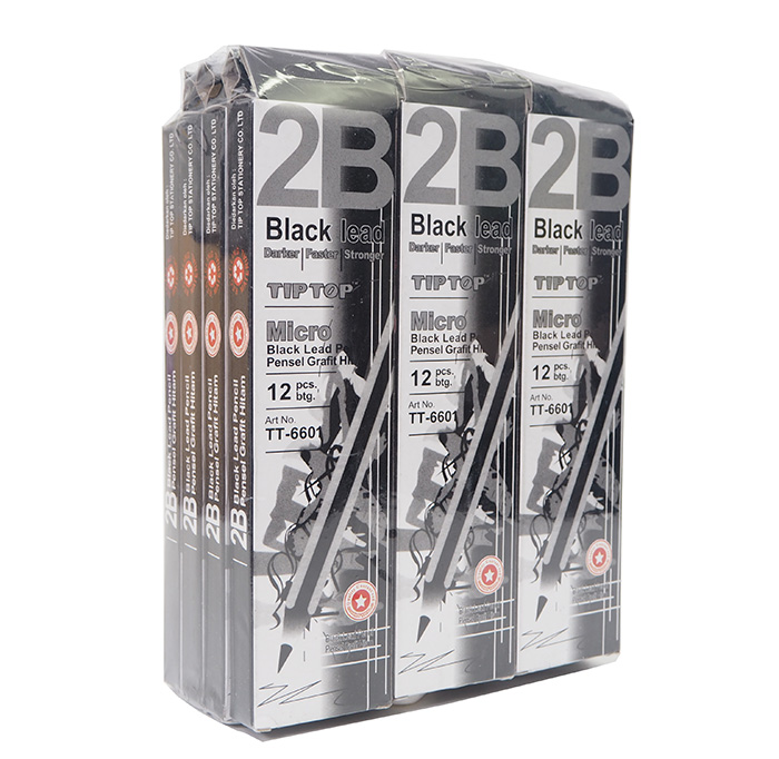 Tip Top 2B Exam Grade Pencil Micro Black Lead Pencils TT-6601 12pcs (12 Box) BLACK