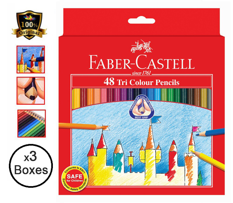 Faber-Castell TRI-GRIP Colour Pencils 48'S 115876 (3 Boxes)