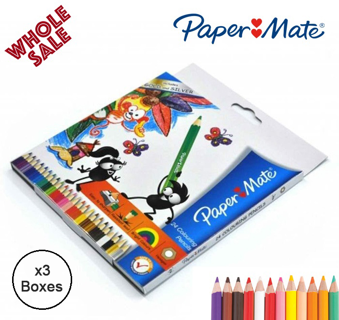 Paper Mate 24 Colouring Pencils (3 Boxes)