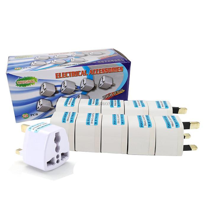 Universal 2 Pin To 3 Pin UK Plug Malaysia Travel Converter Adapter 1PCS
