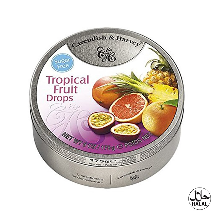 Cavendish & Harvey Tropical Fruit Drops Sugar Free 175g