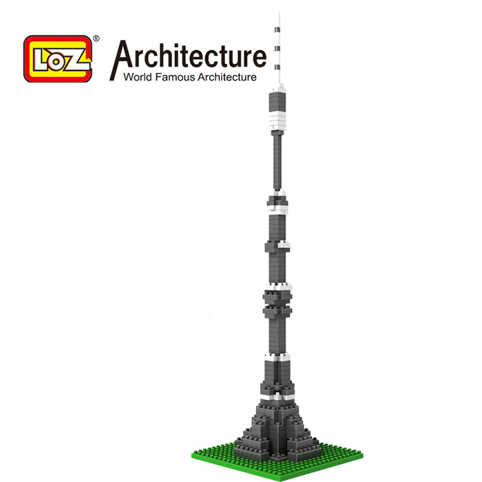 LOZ World Famous Architecture Ostankino Tower Moscow Russia Micro Building Block 190pcs