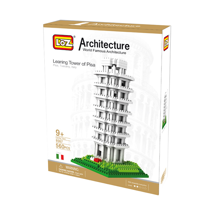 LOZ 9367 World Famous Architecture Leaning Tower of Pisa Italy Micro Building Block Toy 560pcs