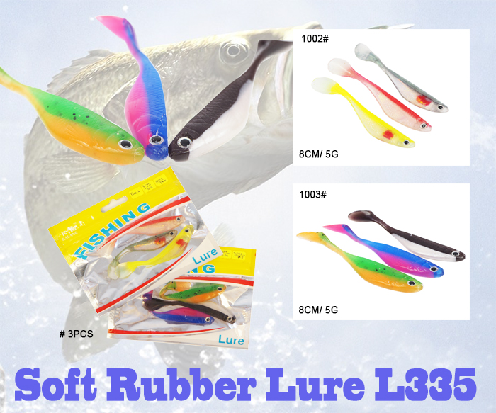 Soft Rubber Fish Lure Fishing Tackle Silicone 3PCS