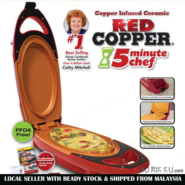 Red Copper 5 Minute Chef Non-Stick Electric Meal Maker Cooker Kitchen