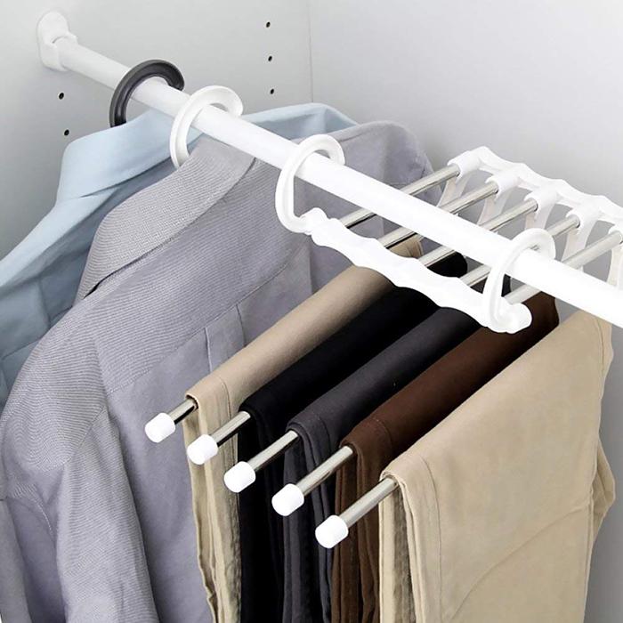 Stainless Steel 5 in 1 Scarf Shawl Closet Trouser Pant Hanger Space Saver Storage Organiser