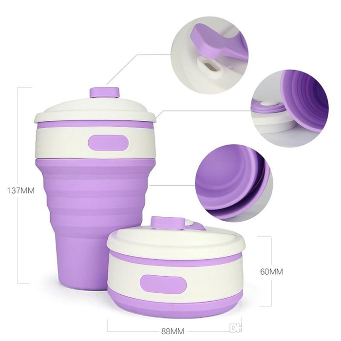 Portable Collapsible Silicone Water Folding Coffee Cup Travel Camping Outdoor Sport 350ml