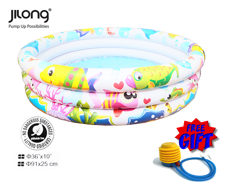 Jilong Mini Inflatable 3 Rings Swimming Pool Durable & Comfortable Pool