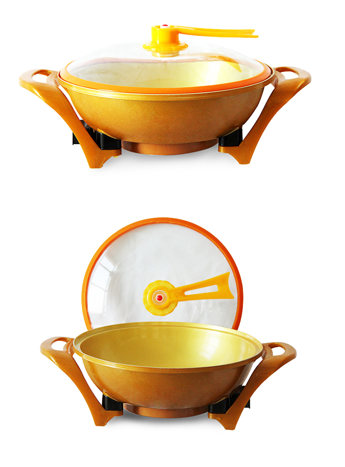 Golden Non-Stick Electric Vacuum Steamboat Grill Cooker Cookware Pot