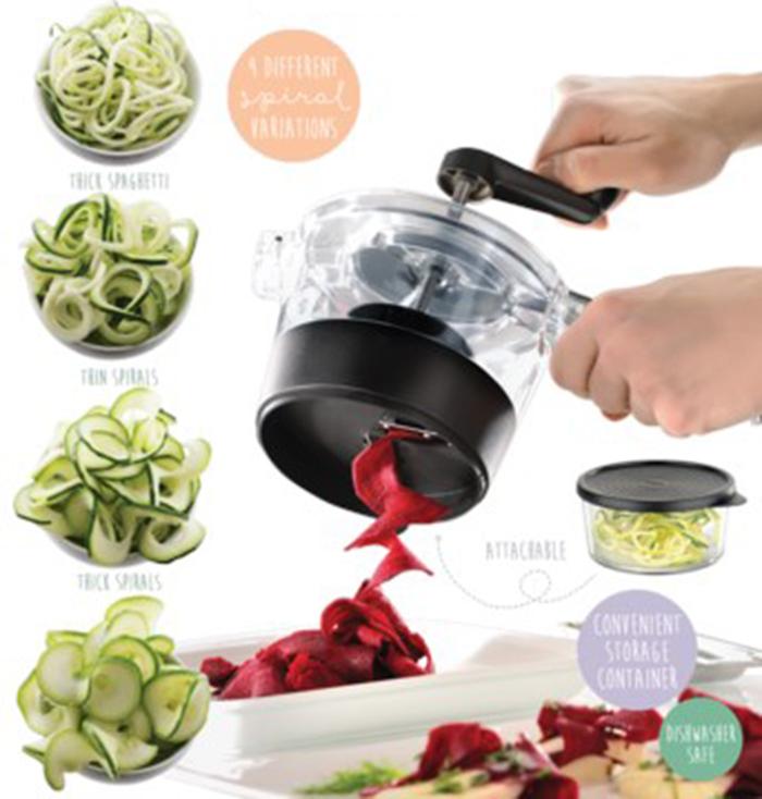 Multifunction 4-in-1 Vegetable Fruit Food Processor Spiralfix Spiral Cutter