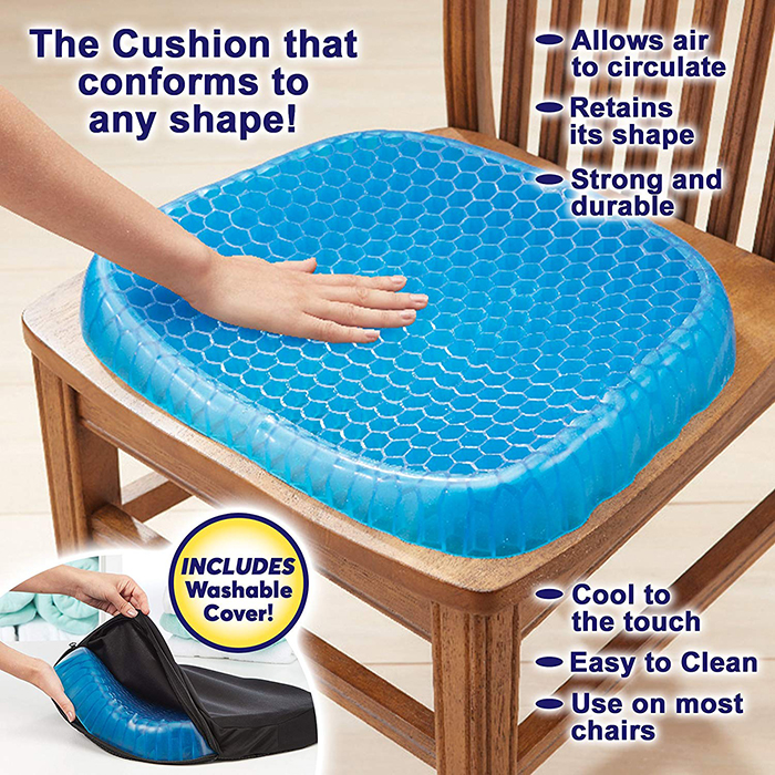 Egg Sitter Gel Flex Seat Cushion Soft Silicone Breathable Honeycomb Design With Cover