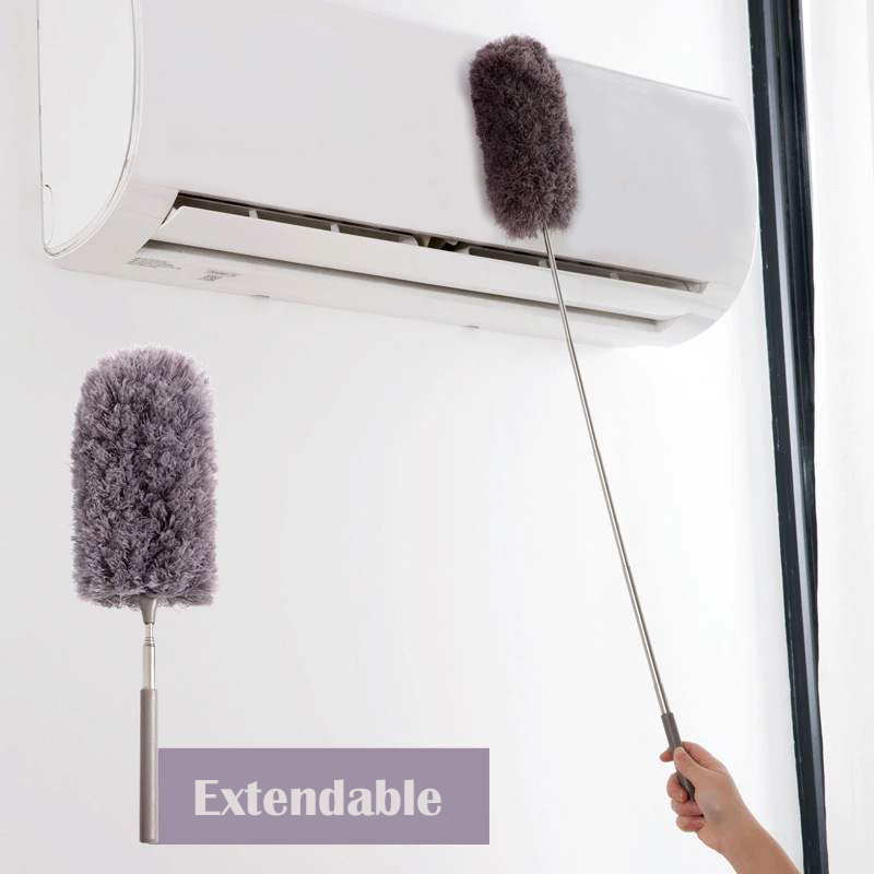Grey YouN Adjustable Stretch Extend Microfiber Feather Duster Dusting Brush
