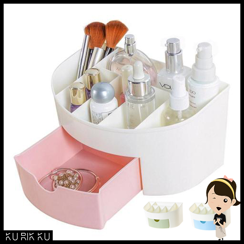 Plastic Cosmetic Storage Box Small Drawer Semicircle Jewelry Box Desktop Sundries Storage