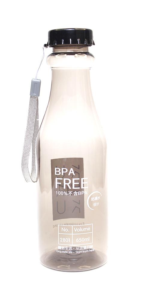 KURIKKU Black BPA Free Candy Colour Water Bottle 650ml
