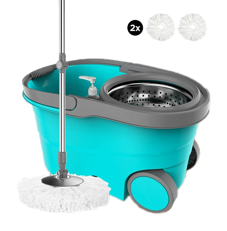 360 Degree Microfiber Magic Spinning Mop Spin Mop with Stainless Steel Basket