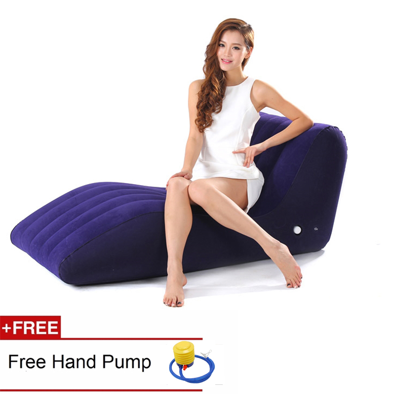 Intime Premium Flocked Lounge Inflatable Single Seat S Air Sofa + Free Foot Pump