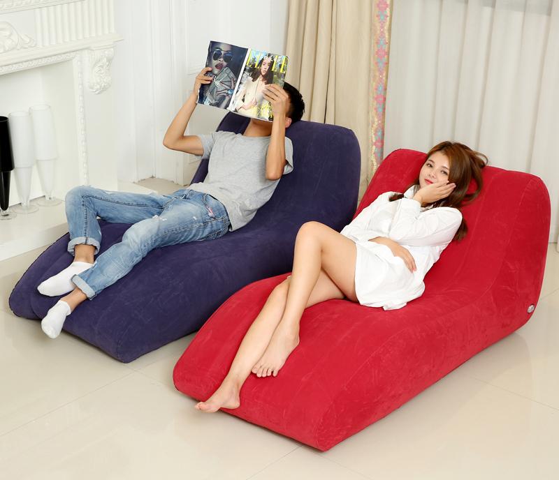 Intime Premium Flocked Lounge Inflatable Single Seat S Air Sofa + Free Foot Pump