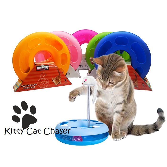 Pet Cat Funny Moving Mouse Spring Mice Play Ball Turntable Circle Disk Toy